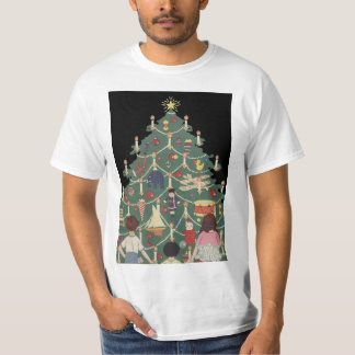 Vintage Christmas Children Around a Decorated Tree Tee Shirts