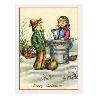 Vintage Christmas children chestnuts Postcard