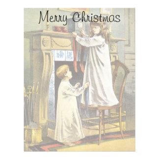 Vintage Christmas, Children Hanging Stockings Letterhead Template