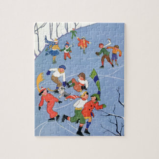 Vintage Christmas, Children Ice Skating on a Lake Jigsaw Puzzle