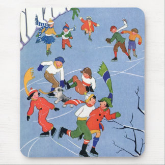 Vintage Christmas, Children Ice Skating on a Lake Mouse Pad