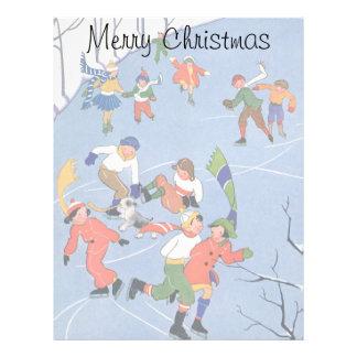 Vintage Christmas, Children Ice Skating on a Pond Letterhead Design