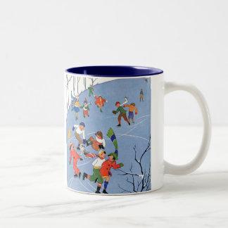 Vintage Christmas, Children Ice Skating on a Pond Two-Tone Coffee Mug