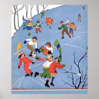 Vintage Christmas, Children Ice Skating on Pond Poster