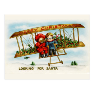 Vintage Christmas Children Looking For Santa Postcard
