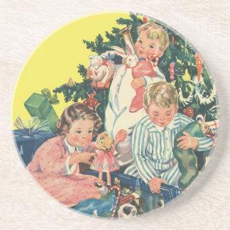 Vintage Christmas, Children Opening Presents Beverage Coasters