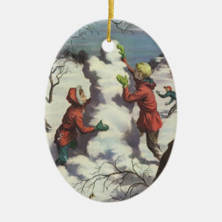 Vintage Christmas, Children Playing in the Snow Ceramic Oval Ornament