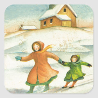 Vintage Christmas, children playing Square Sticker