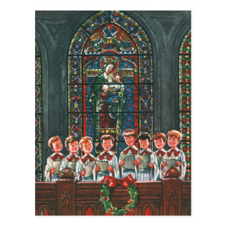 Vintage Christmas Children Singing Choir in Church Postcard