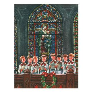 Vintage Christmas Children Singing Choir in Church Postcard