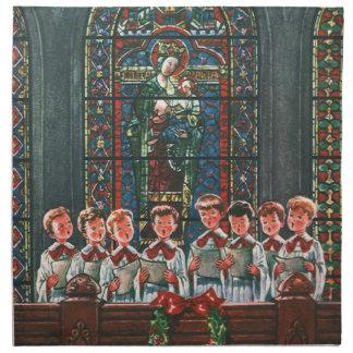Vintage Christmas Children Singing Choir in Church Printed Napkins