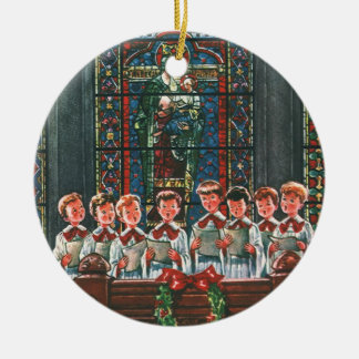 Vintage Christmas Children Singing Choir in Church Round Ceramic Ornament