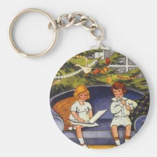 Vintage Christmas, Children Sitting on a Couch Basic Round Button Keychain