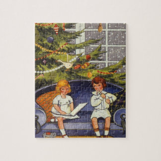 Vintage Christmas, Children Sitting on a Couch Jigsaw Puzzle