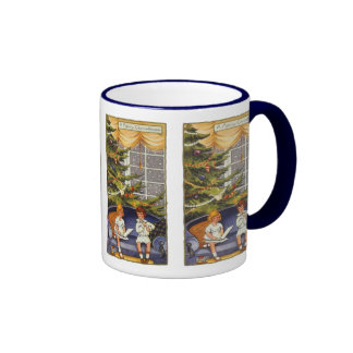 Vintage Christmas, Children Sitting on a Couch Coffee Mugs
