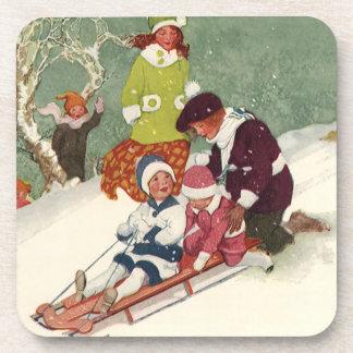 Vintage Christmas, Children Sledding in the Snow Beverage Coasters