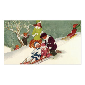 Vintage Christmas, Children Sledding in the Snow Business Card Templates