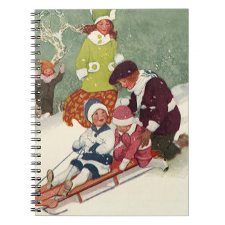 Vintage Christmas Children Sledding in the Snow Spiral Note Books