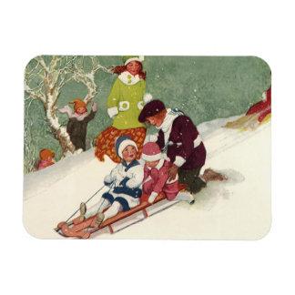 Vintage Christmas, Children Sledding in the Snow Rectangular Photo Magnet