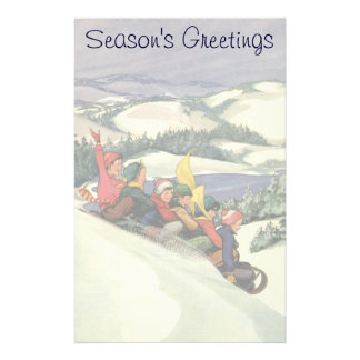 Vintage Christmas, Children Sledding on a Mountain Customized Stationery