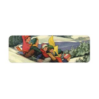 Vintage Christmas Children Sledding on a Mountain Custom Return Address Labels
