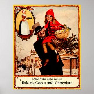 Vintage Christmas Chocolate Celebration Poster