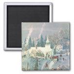 Vintage Christmas, Church Goers in Winter Snow Day Fridge Magnet