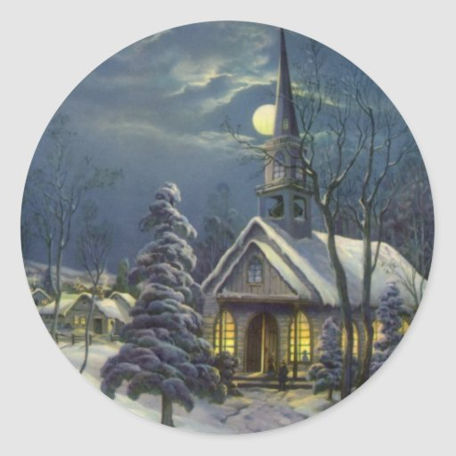 Vintage Christmas, Church in Moonlight Snow Winter Round Stickers
