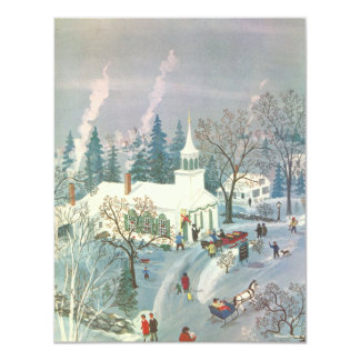 "Vintage Christmas Church in Snow with People 4.25"" X 5.5"" Invitation Card"