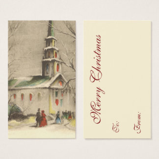 Vintage Christmas, Church in Winter Snowscape Business Card
