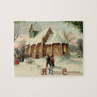 Vintage Christmas Church Parishioners at Dawn Mass Jigsaw Puzzle