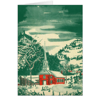 Vintage Christmas Church, Snowscape in Winter Card