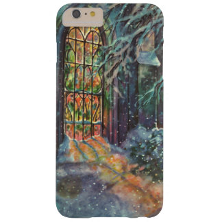Vintage Christmas Church with Stained Glass Window Barely There iPhone 6 Plus Case
