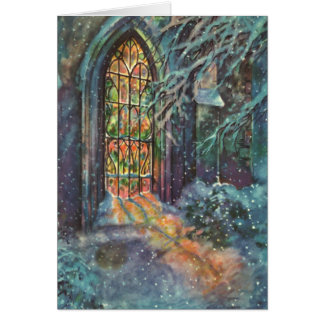 Vintage Christmas Church with Stained Glass Window Card