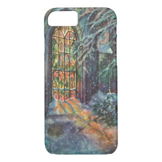 Vintage Christmas Church with Stained Glass Window iPhone 8/7 Case