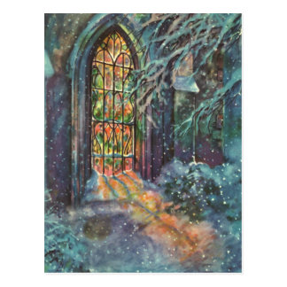 Vintage Christmas Church with Stained Glass Window Postcard