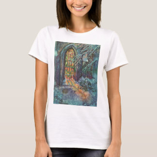Vintage Christmas Church with Stained Glass Window T-Shirt