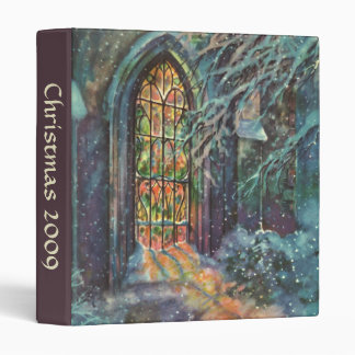 Vintage Christmas Church with Stained Glass Window Vinyl Binder