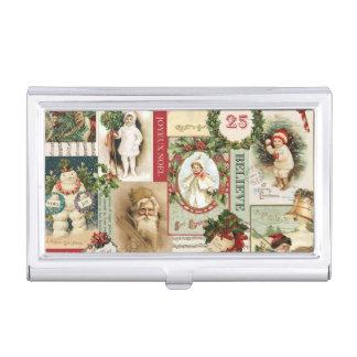 VINTAGE CHRISTMAS COLLAGE BUSINESS CARD HOLDER