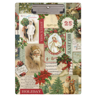 VINTAGE CHRISTMAS COLLAGE CLIPBOARD