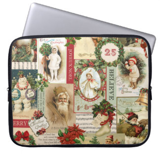 VINTAGE CHRISTMAS COLLAGE LAPTOP COMPUTER SLEEVES