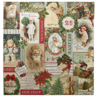 VINTAGE CHRISTMAS COLLAGE NAPKIN