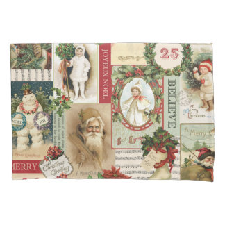 VINTAGE CHRISTMAS COLLAGE PILLOWCASE