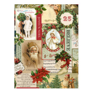 VINTAGE CHRISTMAS COLLAGE POSTCARD