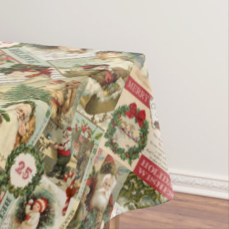VINTAGE CHRISTMAS COLLAGE TABLECLOTH