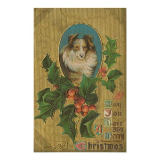 Vintage Christmas Collie Posters