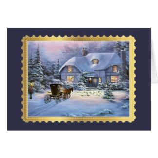 Vintage Christmas Cottage Card