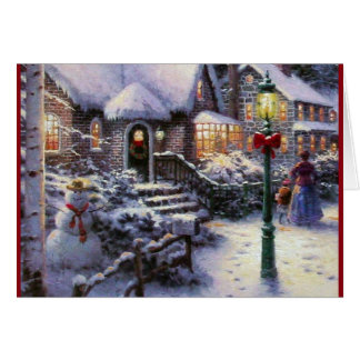 Vintage Christmas Cottage Snow Scene Card