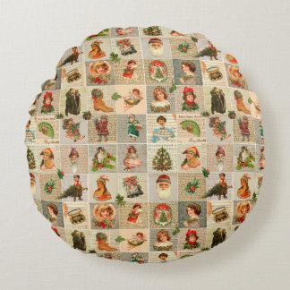 """Vintage Christmas Cotton Round Throw Pillow (16"""")"""