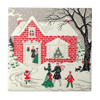 Vintage Christmas Countryside Greetings Tile